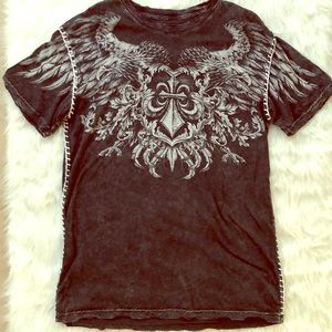 Affliction distressed thick stitching wings tee